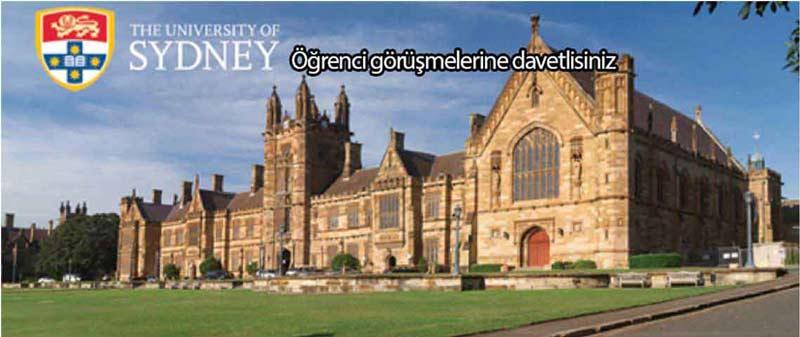 Dünya'nın en iyilerinden Sydney Üniversitesi ile Öğrenci Görüşmelerine Davetlisiniz